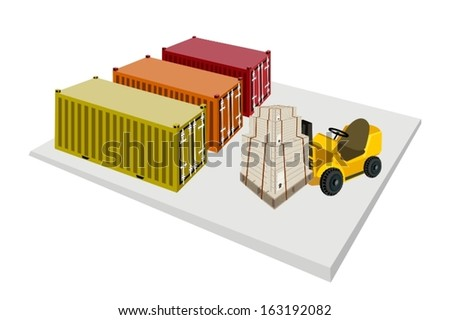 Powered Industrial Forklift, Fork Heavy Machine, Fork Truck or Lift Truck Loading Stack of Wooden Crates or Cargo Boxes into A Cargo Container.  - stock vector