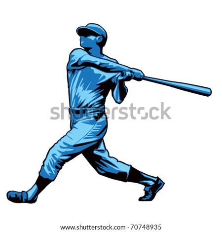 Powerful Baseball Hitter Right handed - stock vector