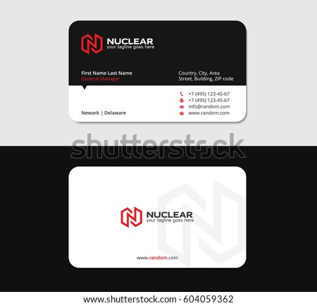 Powerful business card design template red stock vector 604059362 powerful business card design template with red n letter thecheapjerseys Image collections