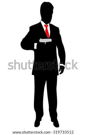 Powerful businessman with a gun  - stock vector