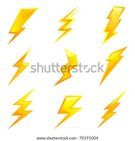 powerful lightning bolts. vector set - stock vector