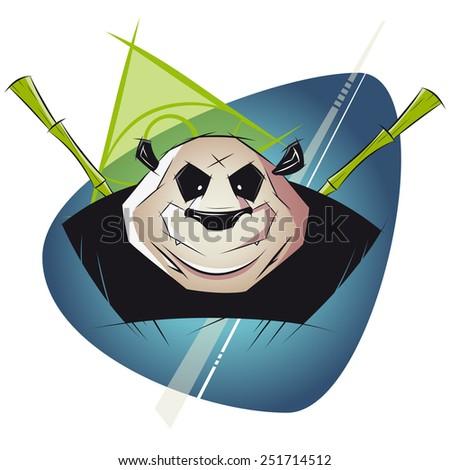 powerful panda illustration - stock vector
