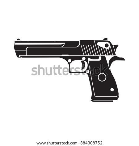 powerful pistol, gun, handgun, vector illustration, easy to edit. - stock vector