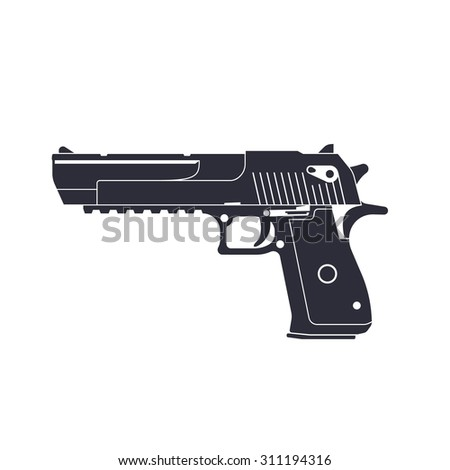 powerful pistol, gun, handgun, vector illustration, eps10, easy to edit - stock vector