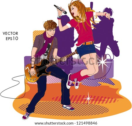 Powerful singer girl singing into a microphone with a guitarist boy playing. Behind them, there are two more guitarist figures and several loudspeakers. - stock vector