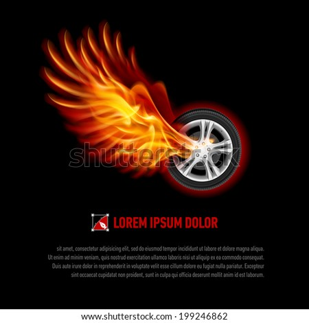 Powerful wheel with orange flaming wings for your design - stock vector