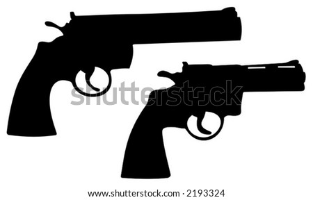 powerfull hand guns - vector illustrations - stock vector