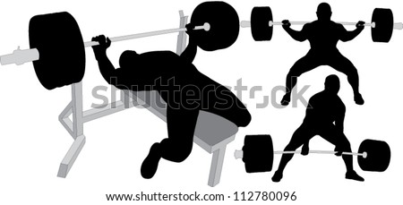 Powerlifting, weightlifting or bodybuilding vector silhouettes on white background. Bench press, deadlift, squat. Layered. Fully editable. - stock vector