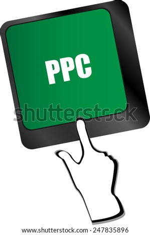 PPC (Pay Per Click) Concept. Button on Modern Computer Keyboard - stock vector
