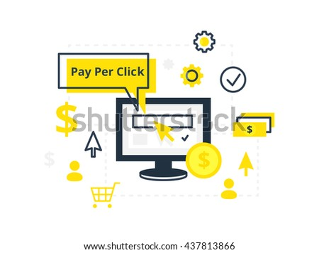 PPC pay per click - vector illustration. Internet marketing, advertising concept in line and flat style.  - stock vector