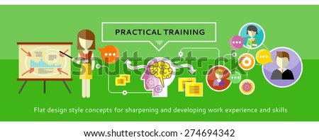 Practical training concept. Human brain that handles a lot of missions. Woman stands near a stand with charts and making a presentation. Video chat between students - stock vector