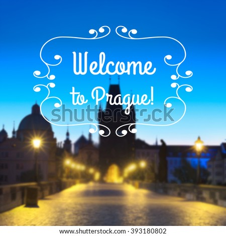 "Prague, Charles Bridge early morning. Vector image generated with mesh, caption ""Welcome to Prague!"", space for your text.  - stock vector"