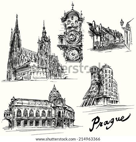 prague - hand drawn illustration - stock vector