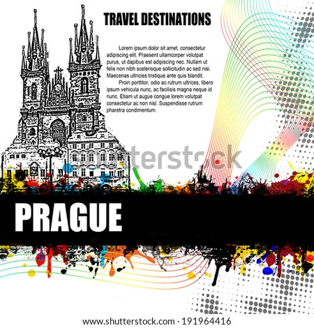 Prague, vintage travel destination grunge poster with colored splash and space for your text, vector illustration - stock vector