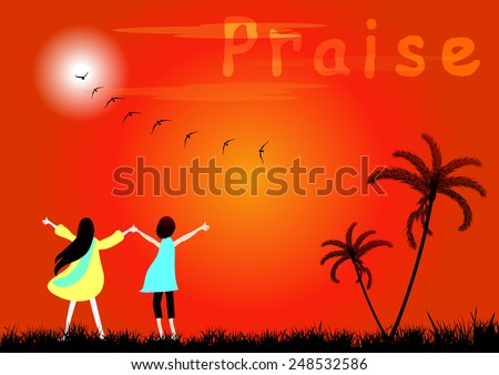 Praise.Boy and girl praise the lord at sunset -Vector illustration - stock vector