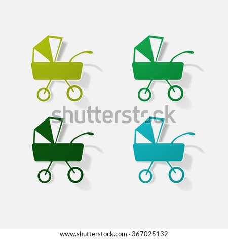 pram - baby carriage sticker - stock vector