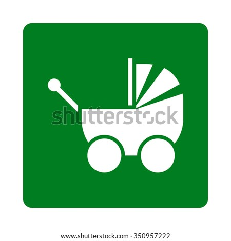 Pram vector icon. Style is flat rounded square button, white and green colors, white background.