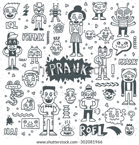 Prank Doodle Set. Wacky Funny Characters. Vector Hand Drawn Illustration.  - stock vector