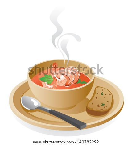 Prawns soup - stock vector