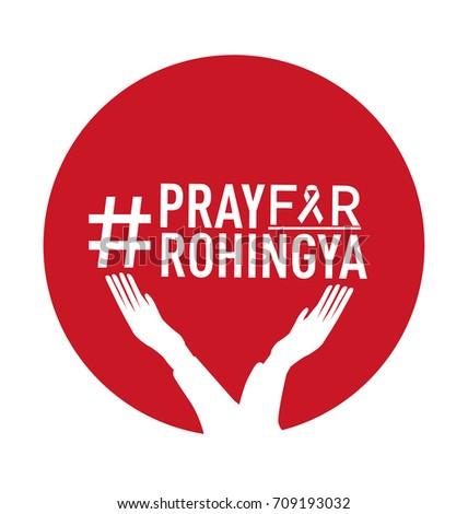 Pray Rohingya Symbol Humanity Solidarity Stock Vector 709193032