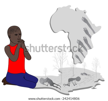 Pray for the people of Africa-Vector illustration - stock vector