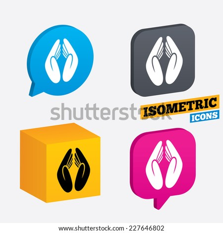 Pray hands sign icon. Religion priest faith symbol. Isometric speech bubbles and cube. Rotated icons with edges. Vector - stock vector