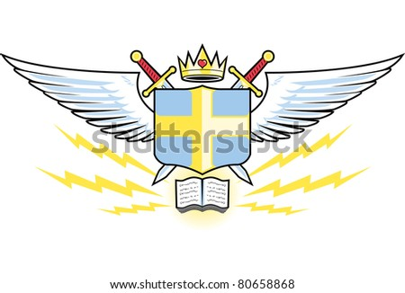 Prayer Warrior Crest - stock vector