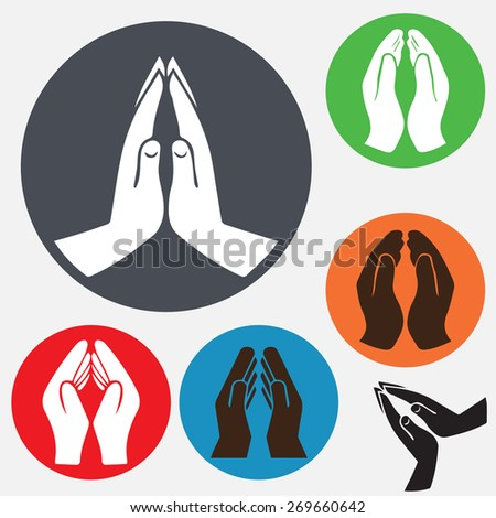 Praying hands icon, vector illustration.design style - stock vector