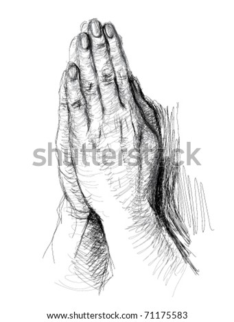 Praying Hands / realistic sketch (not auto-traced) - stock vector