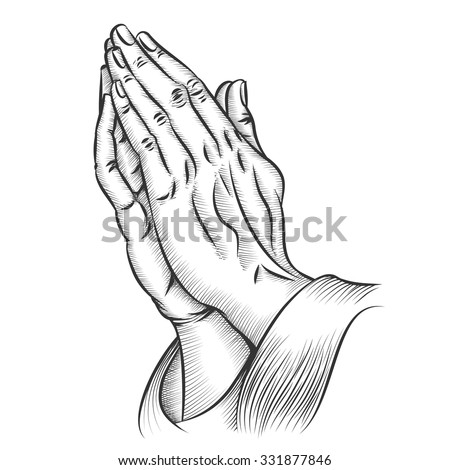 Praying hands. Religion and holy catholic or christian, spirituality belief and hope. Vector illustration - stock vector