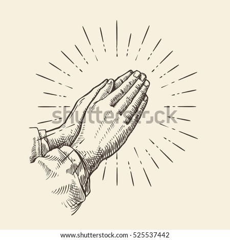 Praying hands. Sketch vector illustration