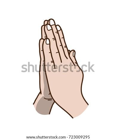 praying hands vector illustration hand drawn stock vector 723009295 rh shutterstock com Cartoon Praying Hands Emoji cartoon pic of praying hands