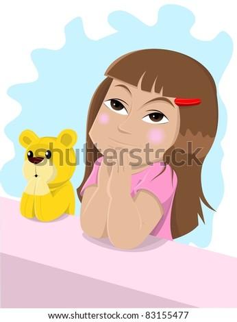 praying little girl - stock vector