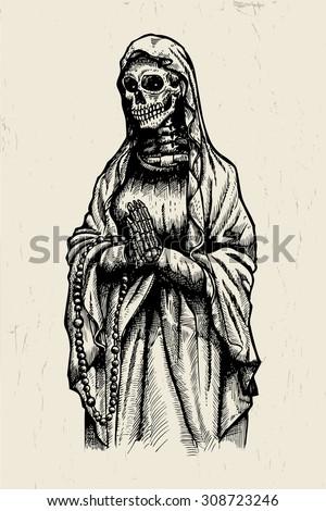 Praying Skeleton - stock vector