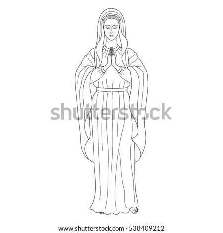 Praying Virgin Mary Outline Cartoon On White Background Black And Coloring Page
