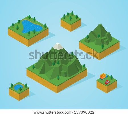 pre assembly isometric map-mountain - stock vector