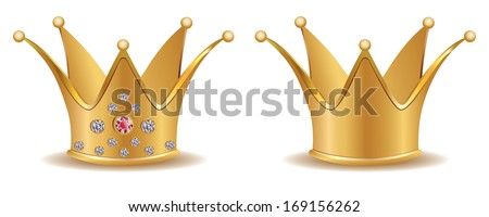 Precious golden crown with diamonds on white background. - stock vector