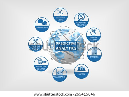 Predictive web and data analytics vector icons. Globe and world map with analytics components like consumer behavior, statistical models, machine learning, scoring, patterns, predictive behavior. - stock vector