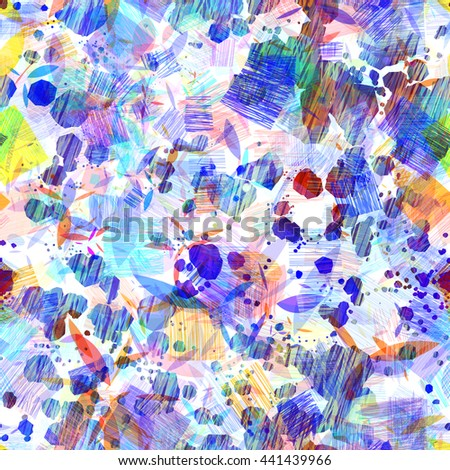 Predominant blue. Stains and strokes. Abstract seamless vector pattern. Easy editing. Hatch, overlay, transparency, overlap. - stock vector
