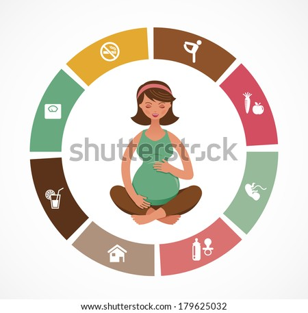 Pregnancy and birth infographics and icon vector set - stock vector