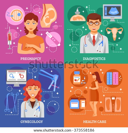 Pregnancy design concept set with flat gynecology icons set isolated vector illustration - stock vector