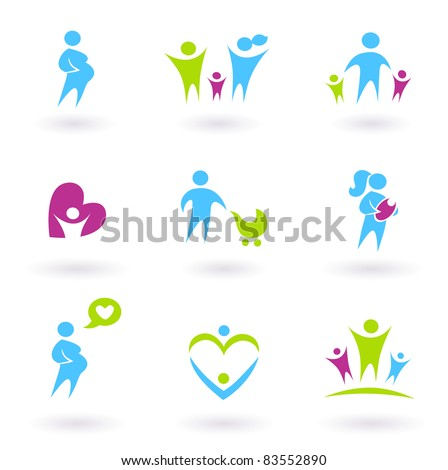 Pregnancy, Family and Parenthood icons isolated on white Icon collection - Family, Pregnancy and Parenthood - blue and green