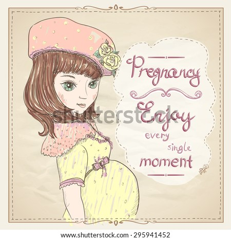 Pregnancy quotes card. Enjoy every single moment, graphic portrait of a pregnant young woman in yellow dress and hat - stock vector