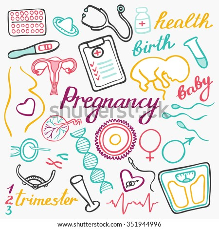 Pregnancy set. Hand-drawn cartoon collection. Doodle drawing. Vector illustration - stock vector