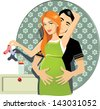 Pregnant Couple - Vector illustration of a happy pregnant couple, flower wallpaper background, nightstand with baby bottle. - stock vector