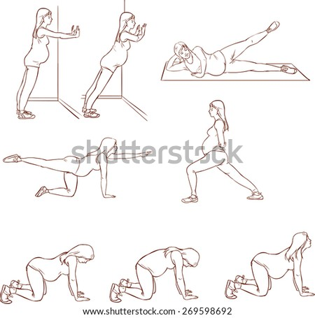 pregnant  exercises sets - stock vector