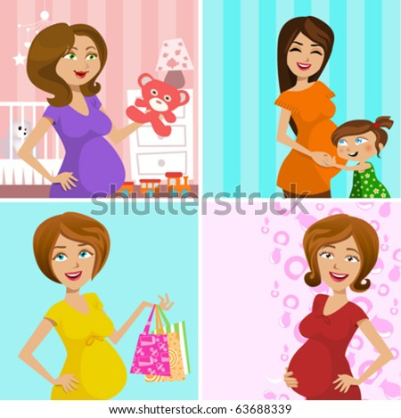 pregnant mother (four different design) - stock vector