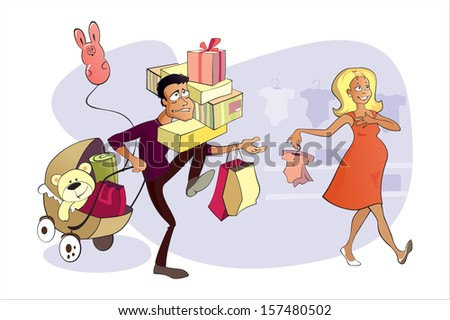 Pregnant woman and her husband are shopping - stock vector