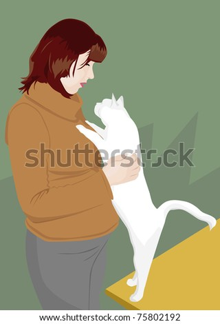 pregnant woman and white cat