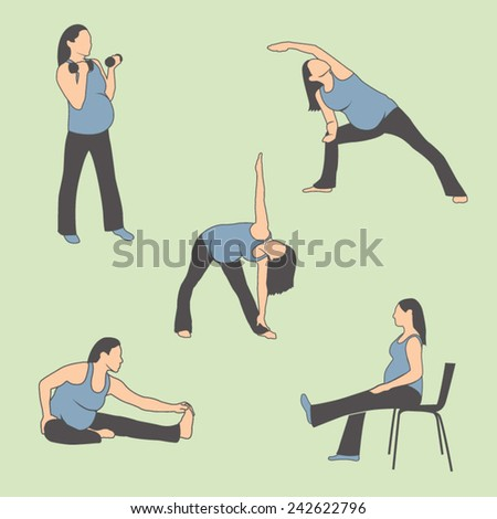 Pregnant Woman Exercise Icons  - stock vector